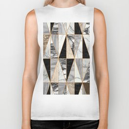 Marble Triangles - Black and White Biker Tank