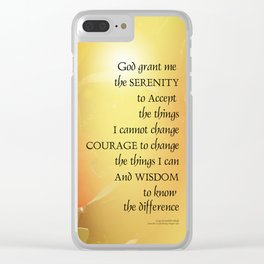 Serenity Prayer Red-Orange Tulips on Yellow Clear iPhone Case