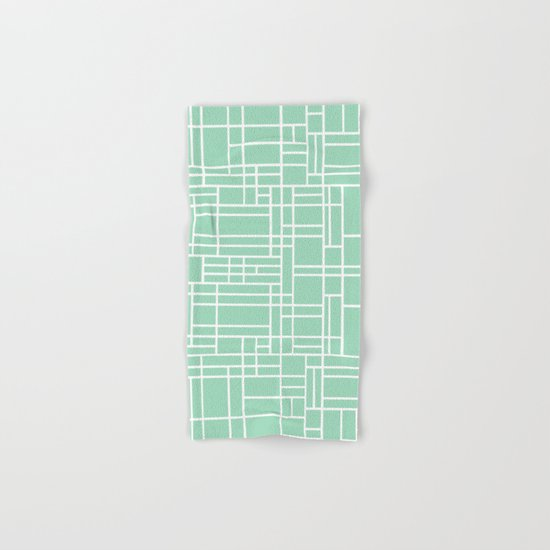 Map Outline Mint Hand & Bath Towel