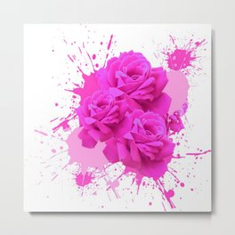 CERISE PINK ROSE PATTERN WATERCOLOR SPLATTER Metal Print