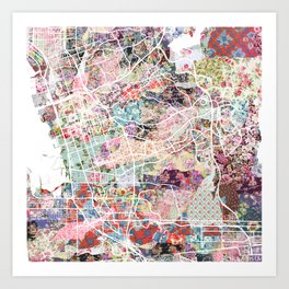 Chula Vista map Art Print