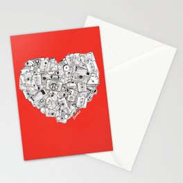 Camera Heart - on red Stationery Cards