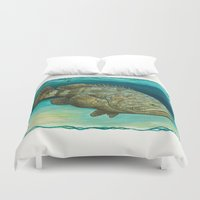 biology Duvet Covers featuring Goliath Grouper ~ Watercolor by Amber Marine