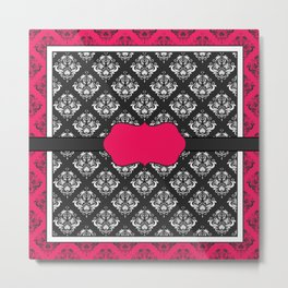Victorian Elegance Classic Pink and Charcoal Metal Print