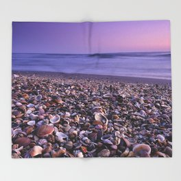 The Beach Of The Shells Throw Blanket