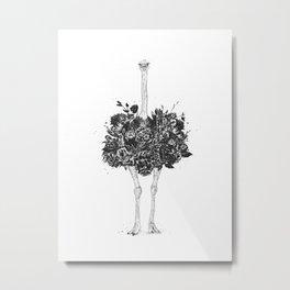 Floral ostrich Metal Print