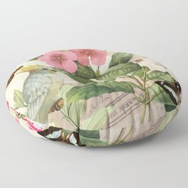 A macaw with flowers and butterflies Floor Pillow