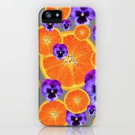ORANGE SLICES & PURPLE PANSIES MODERN ART iPhone Case