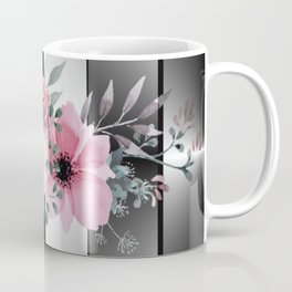 Floral Spray on Faceted Mirror Stripes Coffee Mug