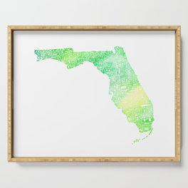 Typographic Florida - green watercolor Serving Tray