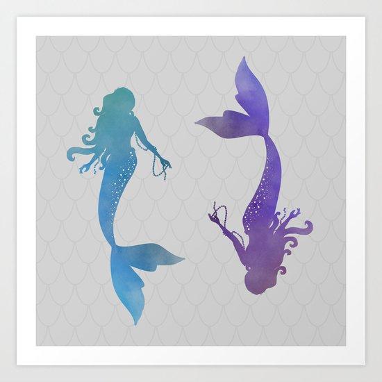 blue & purple mermaid Art Print