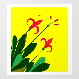 68e19e8fbbf7 An Ancient Mediterranean Flowers with Yellow Background Art Print