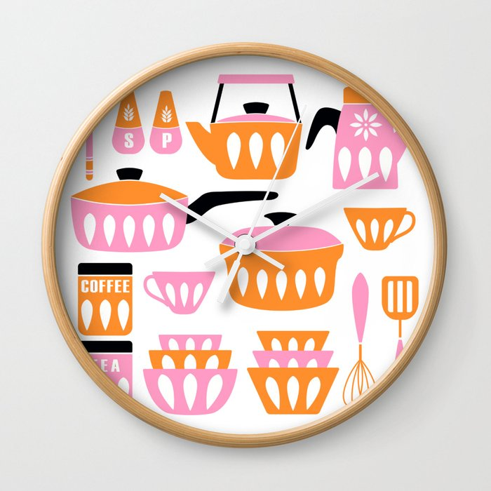 My Midcentury Modern Kitchen In Pink And Tangerine Wall Clock by sunnybunny