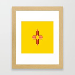 flag new mexico-usa,america,sun,Zia Sun symbol,New Mexican,Albuquerque,Las Cruces,santa fe,roswell Framed Art Print