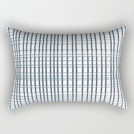 thin blue lines crosshatch Rectangular Pillow