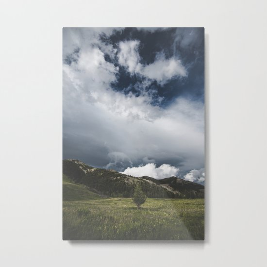 Landsape Waterton Meadow and Rolling Hills | Nature | Skyscape Clouds Metal Print