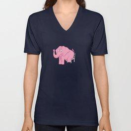 Pink Elephant Unisex V-Neck