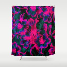 Pink Space Flora Shower Curtain