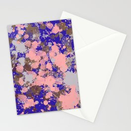 Paint Splatters Pink Blue White Texture Pattern Stationery Cards
