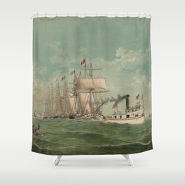 Vintage Fishing Fleet Painting (1882) Shower Curtain