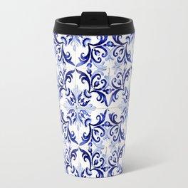 blue tile pattern VI - Azulejos, Portuguese tiles Travel Mug
