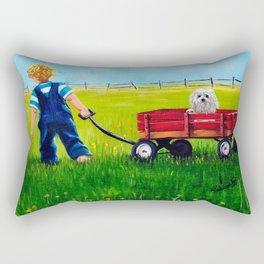 """Brian and his Red wagon"",Boys room Fine Art print,  Whimsical Boys Art,Boy and dog wall Art Rectangular Pillow"