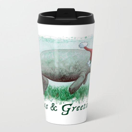 Seas and Greetings ~ The Manatee ~ Watercolor Metal Travel Mug
