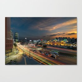 Seoul station light trails at sunset Canvas Print