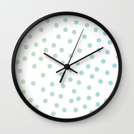 Simply Dots in Turquoise Green Blue Gradient on White Wall Clock