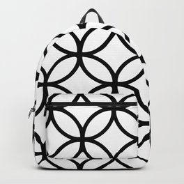 Vedic Geometric Circles with Diamonds Black and White Backpack