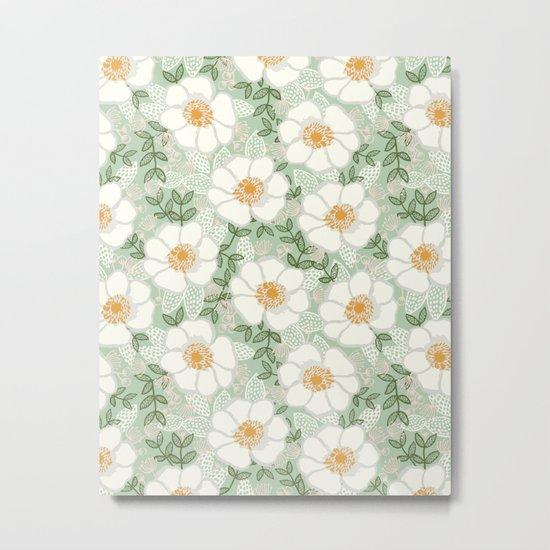 Sage pastel white green flowers blossom garden summer spring nature pattern painting florals Metal Print
