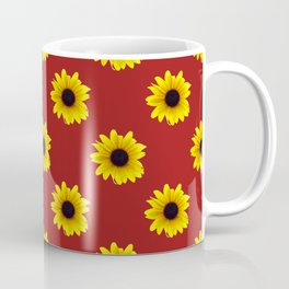Pretty Sunflower Pattern with Red Background Coffee Mug
