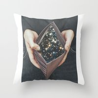 wallet Throw Pillows featuring space nebula by marzesu collages