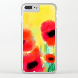 Red poppies - original design by ArtStudio29 - red flowers on yellow background Clear iPhone Case