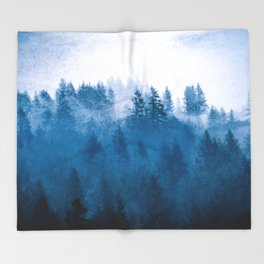 Blue Winter Day Foggy Trees Throw Blanket