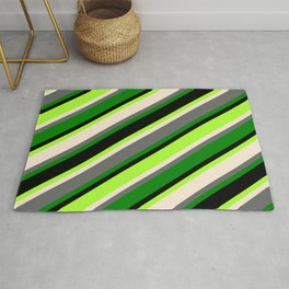 Colorful Light Green, Beige, Dim Grey, Green, and Black Colored Lines/Stripes Pattern Rug
