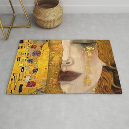 Gustav Klimt portrait The Kiss & The Golden Tears (Freya's Tears) No. 2 Rug