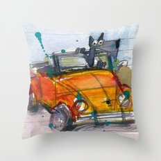 Scottish Terrier Driving a VW Bus Throw Pillow