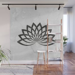 Gray Marble With A Black Lotus Wall Mural