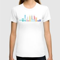 new york skyline T-shirts featuring New York Skyline Black by Christopher Dina