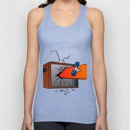 broken tv screen with skateboard Unisex Tank Top