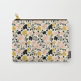 Winter Solstice Floral in Pink and Black | Pattern Collection  Carry-All Pouch