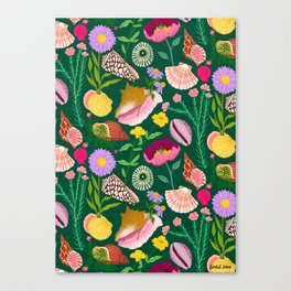Shells & Flowers Pattern Canvas Print