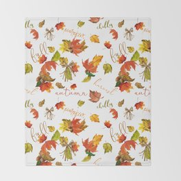 Autumn Leaves Hello Fall! Throw Blanket