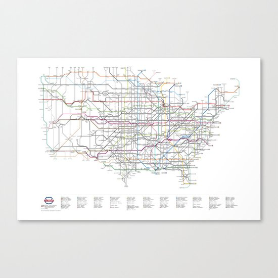 U.S. Numbered Highways as a Subway Map Canvas Print