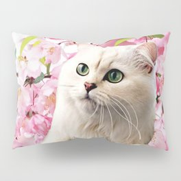 Cat and Flowers Pillow Sham