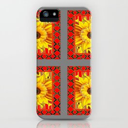 DECORATIVE TEAL-RED & YELLOW SUNFLOWER GREY DECO FLORAL iPhone Case