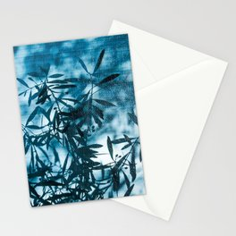 Olive tree leaves silhouette summer blue Stationery Cards