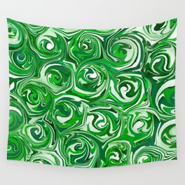Emerald Green, Green Apple, and White Paint Swirls Wall Tapestry