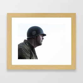silhouette retro American GI soldier World War 2  Framed Art Print